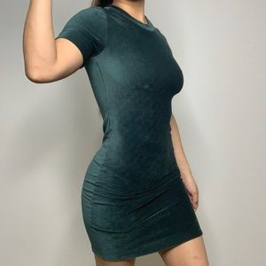 NEW Hunter Green Ribbed Velvet Dress